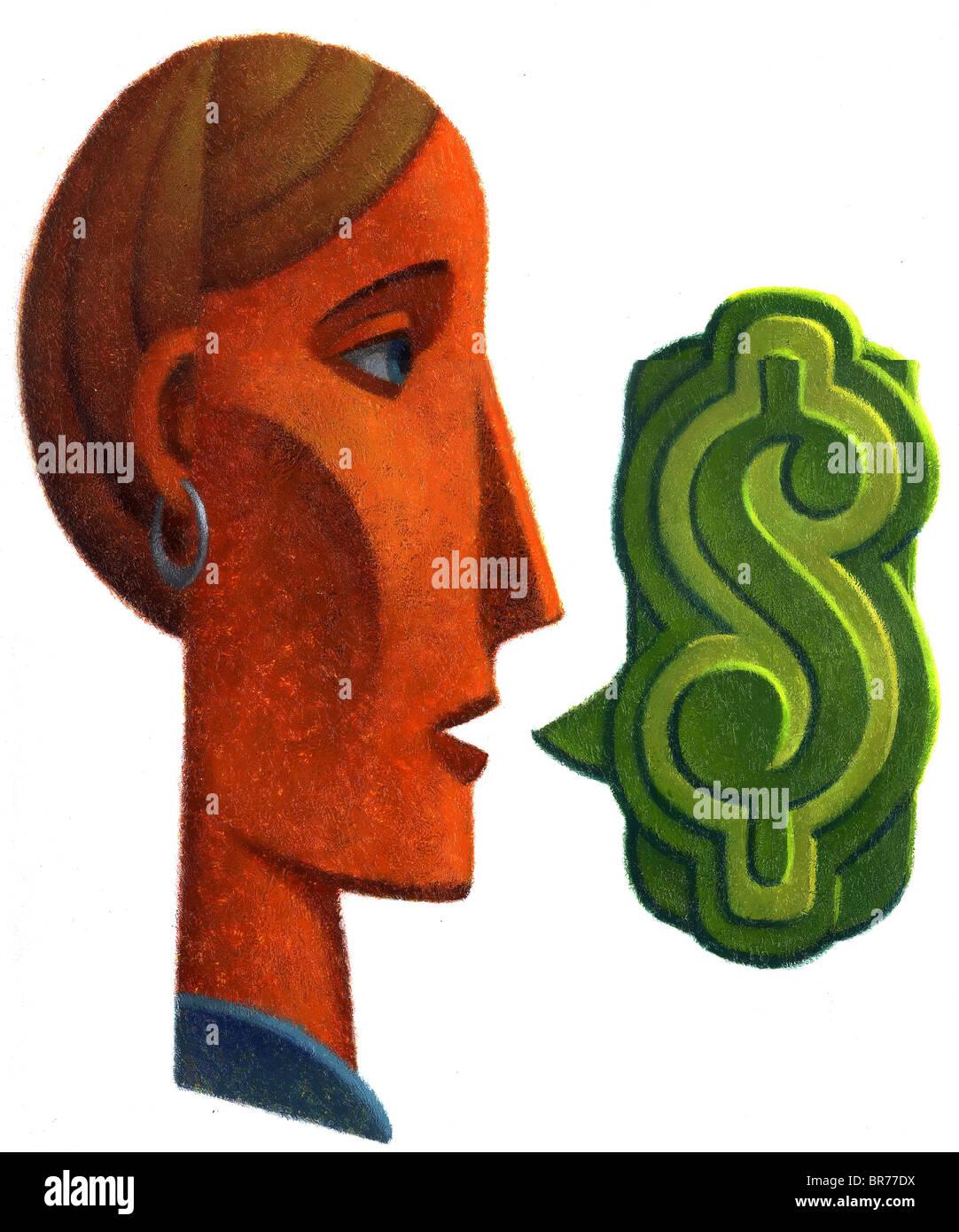 woman making money talk - Stock Image