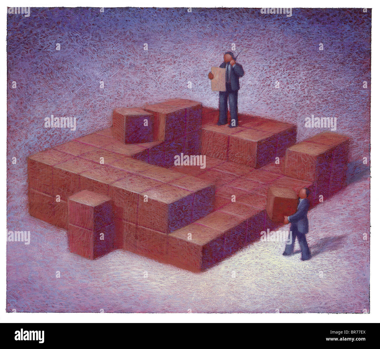 Businessmen talking on the phone and moving boxes - Stock Image