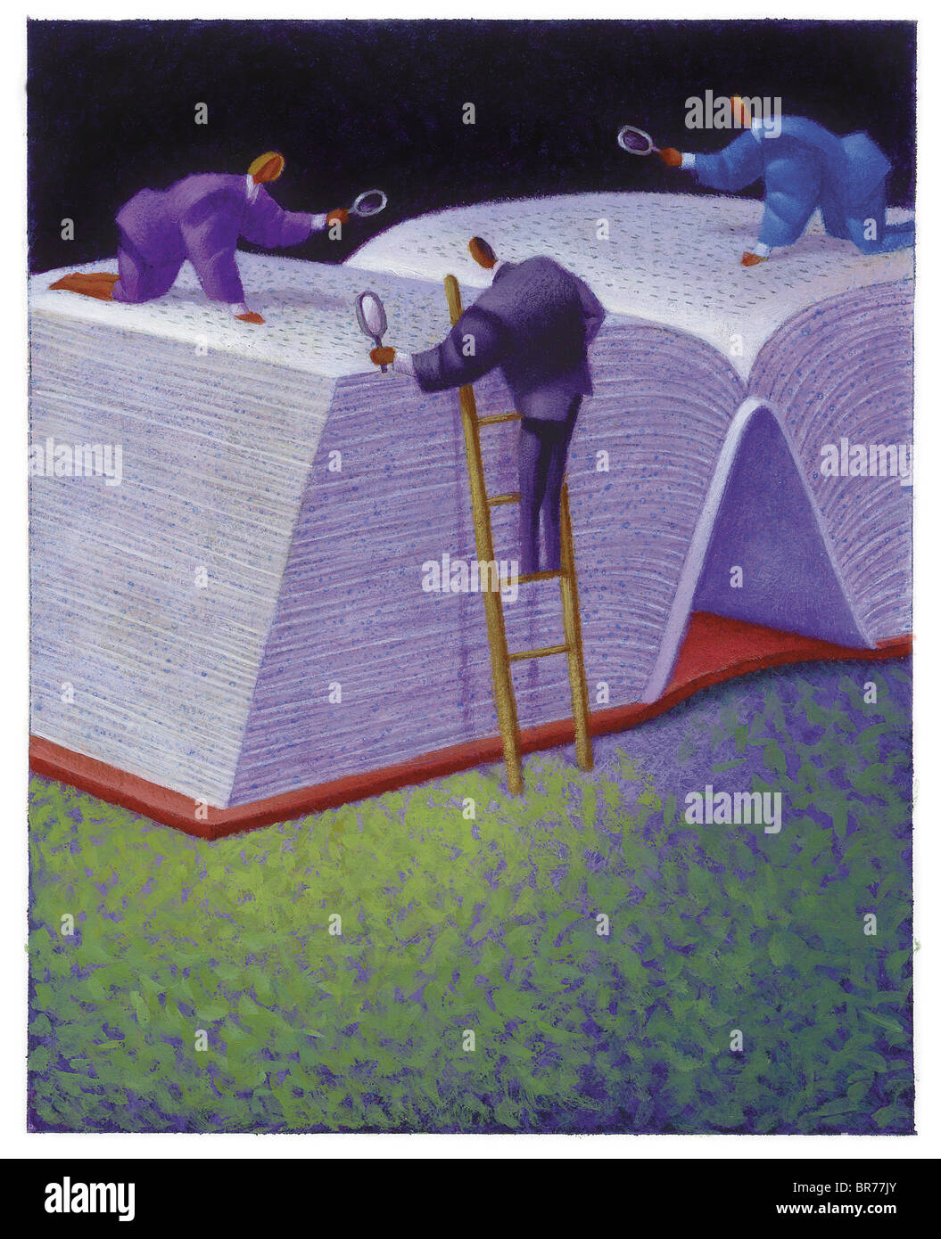 Three businessmen looking at giant book - Stock Image