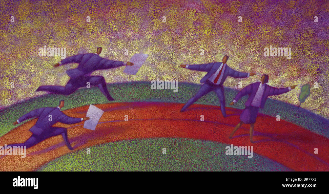 People engaging in a business baton race - Stock Image