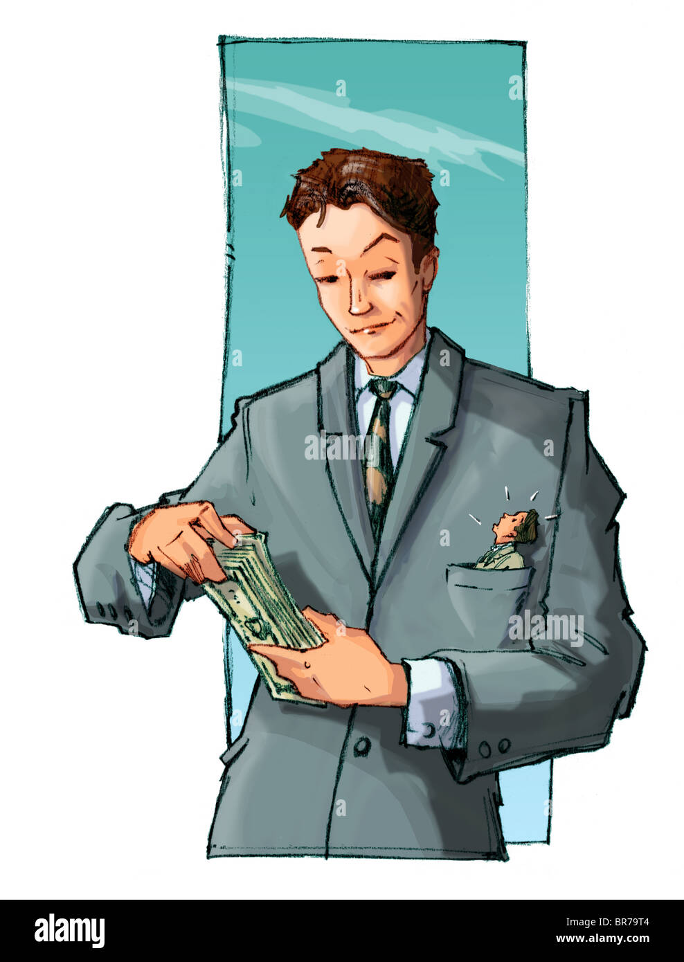 A businessman counting his money - Stock Image
