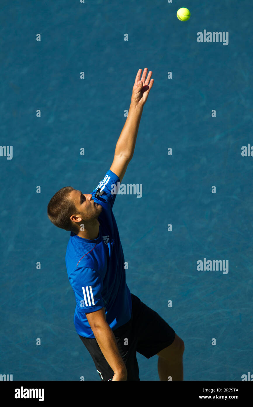 Mikhail Youzhny (RUS) competing at the 2010 US Open Tennis. Stock Photo