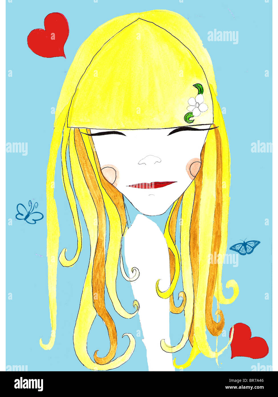 A blond-haired girl surrounded by hearts and butterflies - Stock Image