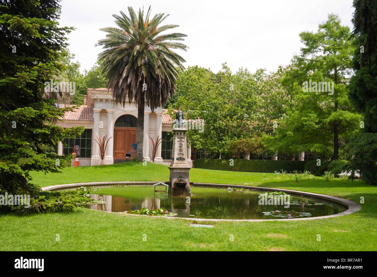 Real Jardín Botánico, The Royal Botanic Gardens, Madrid, Spain. The  Villanueva Pavilion Is In The Background