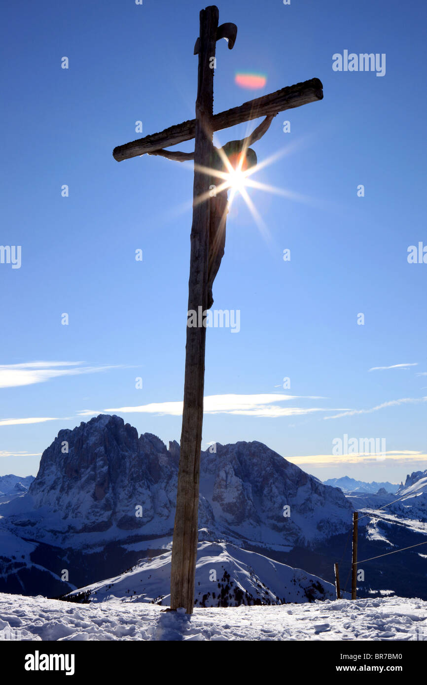 A big crucifix in Val Gardena mountains, Italy - Stock Image