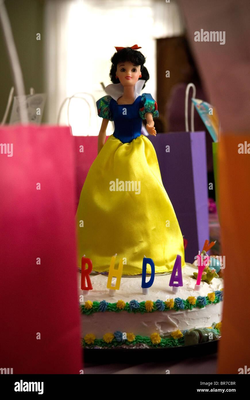 Brilliant Birthday Cake Decorated With Snow White Doll Stock Photo 31510859 Funny Birthday Cards Online Alyptdamsfinfo