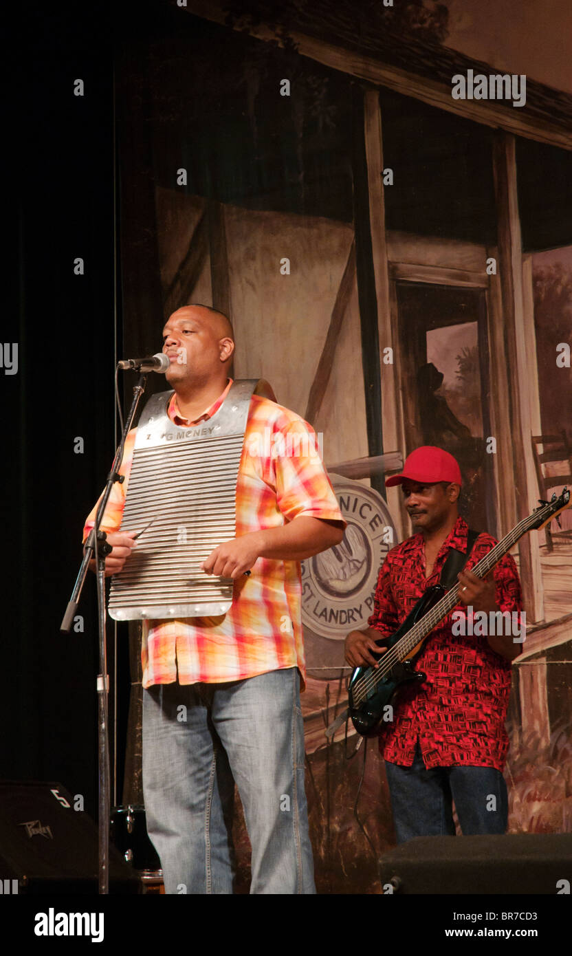 Louisiana, Eunice, Liberty Theater built 1927, Saturday night live music radio broadcast Zydeco band member playing - Stock Image