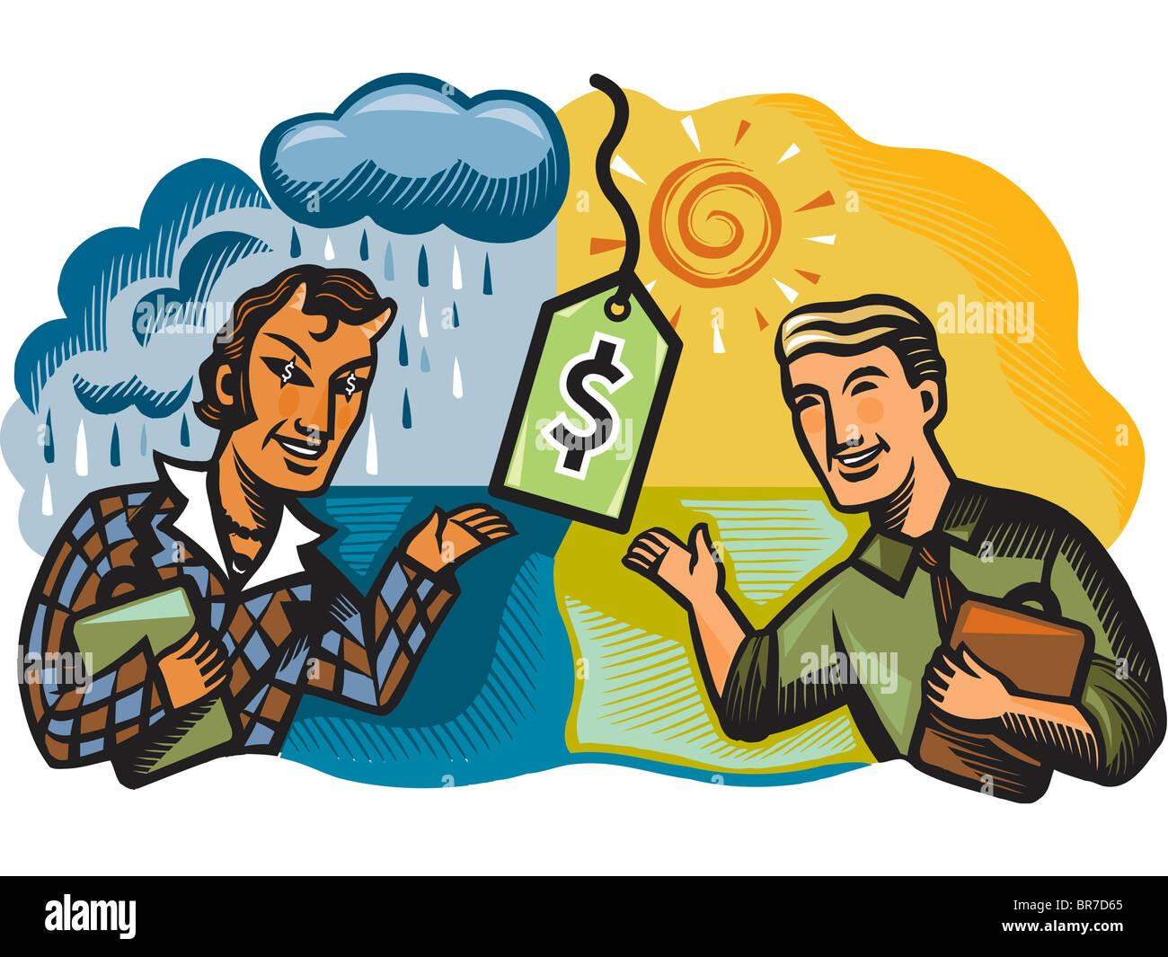 honest salesman and devil salesman - Stock Image