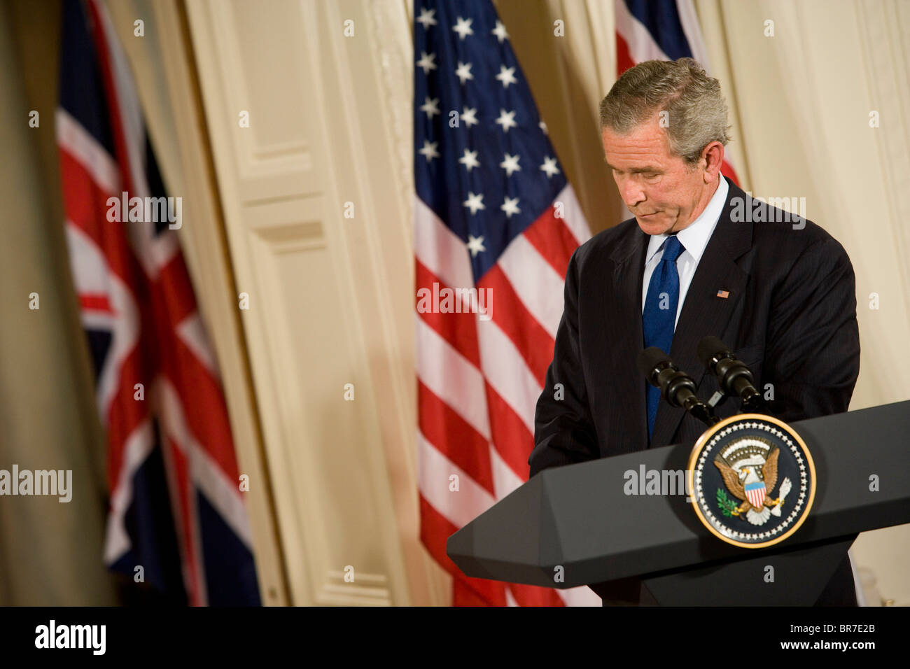 President Bush at White House press conference. Stock Photo