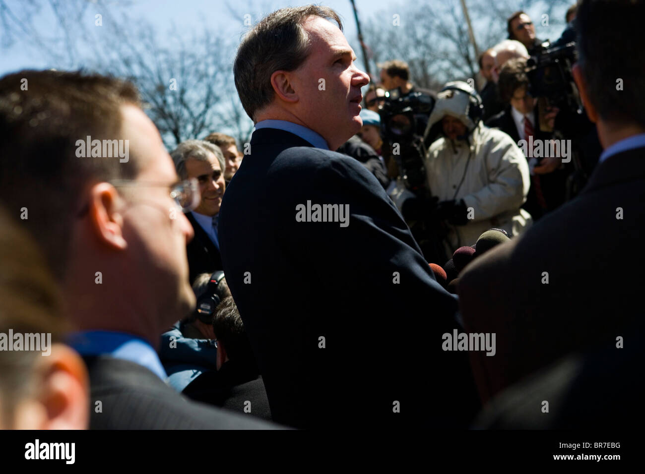Special Counsel Patrick Fitzgerald speaks to the media follwing guilty verdicts in the Libby trial - Stock Image