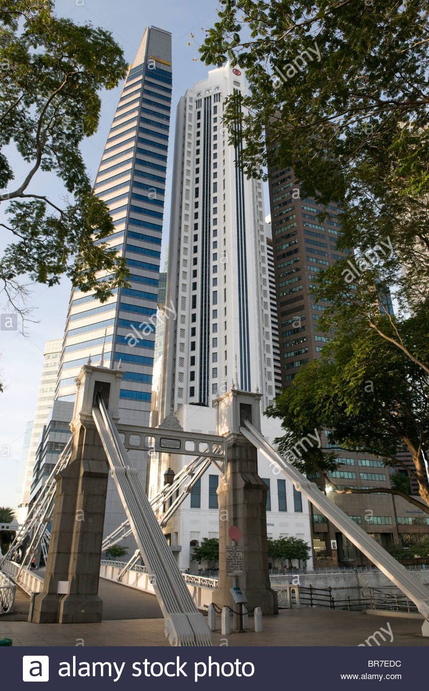 Cavenagh Bridge and Central Business District - Stock Image