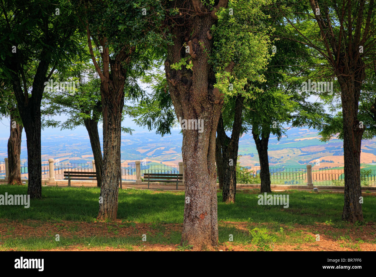 City park in Tuscan hill town Montalcino - Stock Image