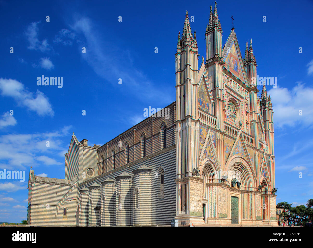 The Duomo di Orvieto is a large 14th century Roman Catholic cathedral situated in the town of Orvieto in Umbria, - Stock Image