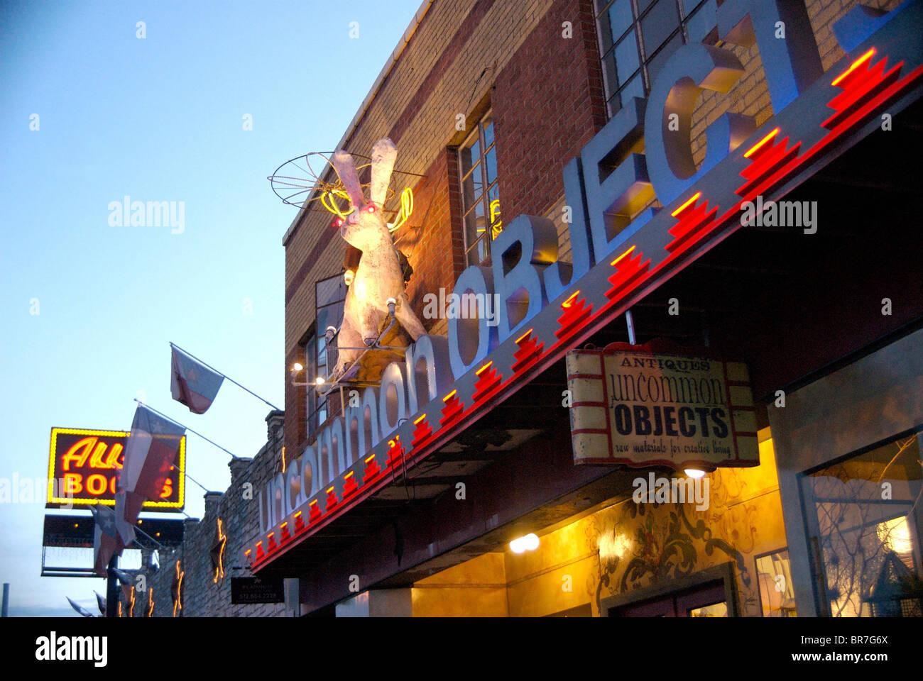 Shops along South Congress in an artsy Austin TX neighborhood. - Stock Image