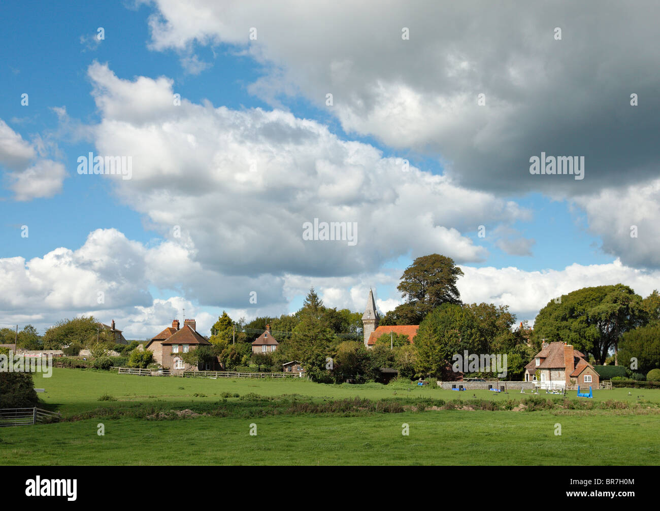 The Hamlet of South Stoke and St lawrence Church. - Stock Image