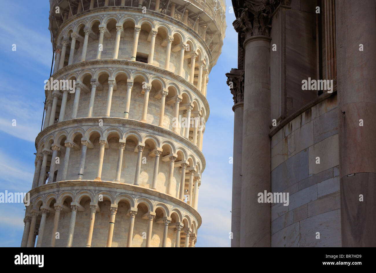 The Leaning Tower in Pisa's Square of MIracles, Italy Stock Photo