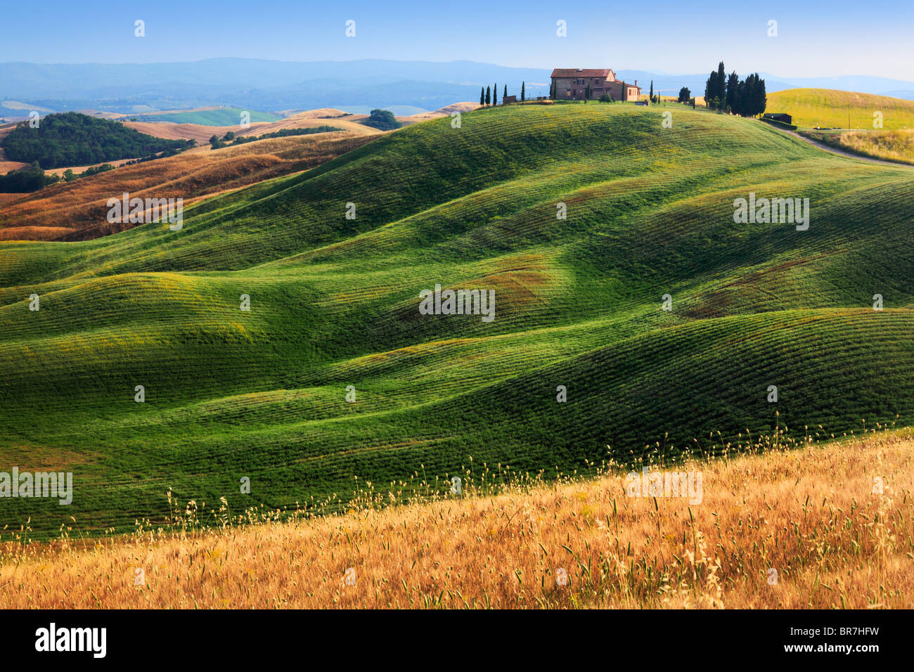 Hilltop villa near Asciano in central Tuscany, Italy - Stock Image