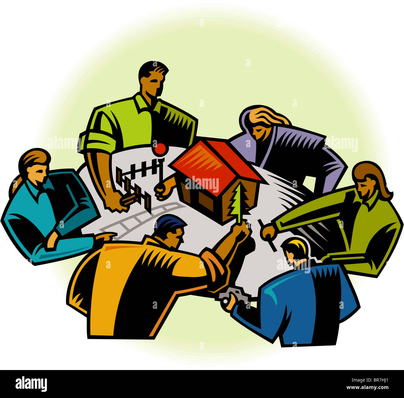 A group of people working on a scale model of a home - Stock Image