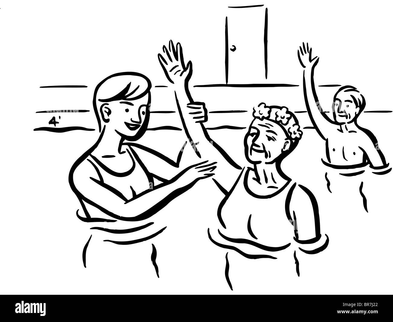 Elderly folks attending a water aerobics class - Stock Image