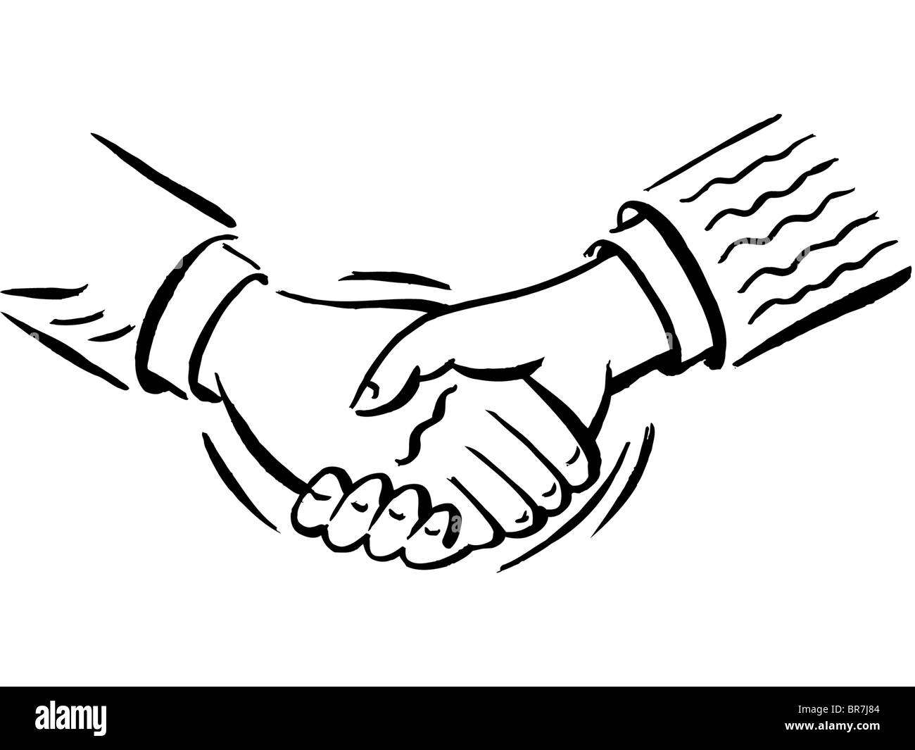 A handshake shown in black and white Stock Photo