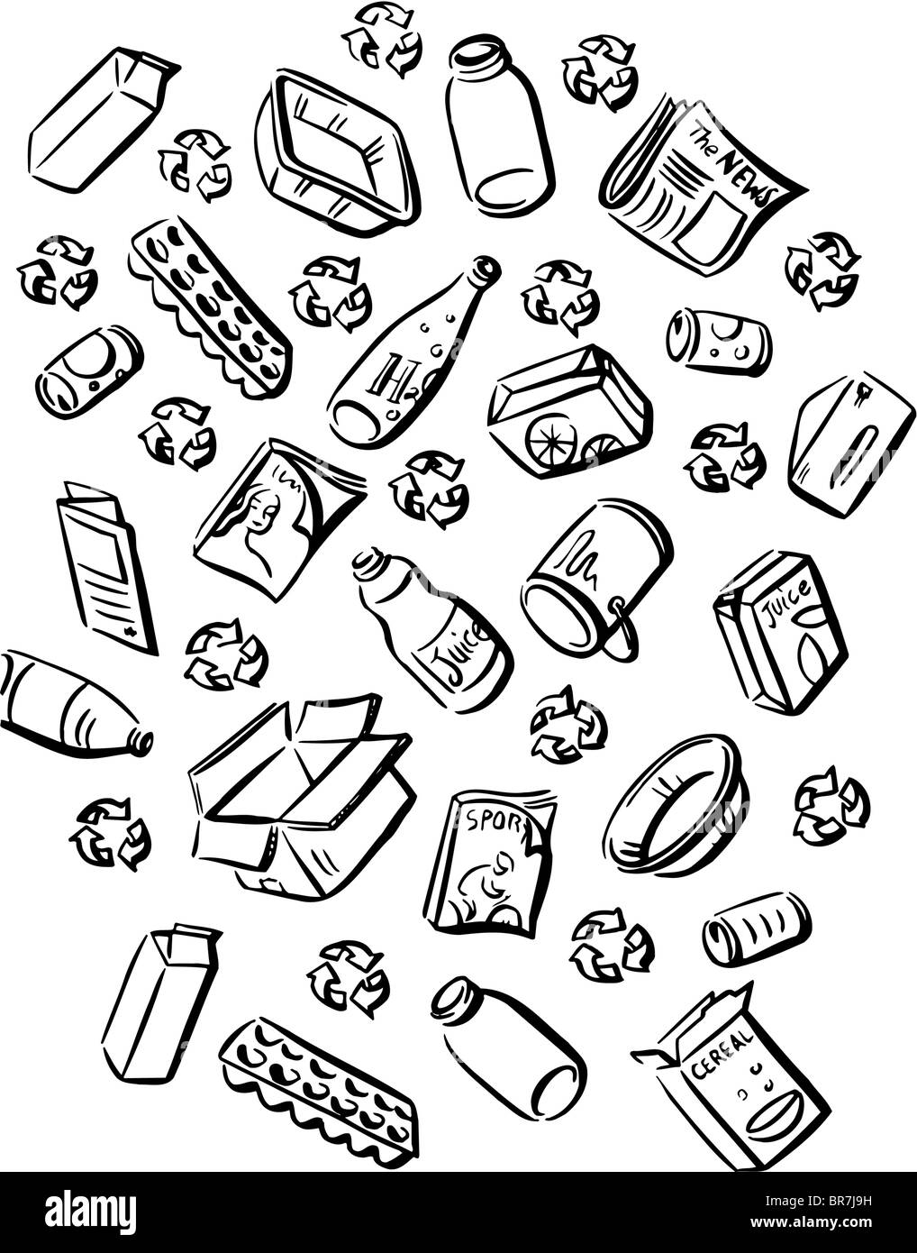 A picture showing recyclable wastes in black and white - Stock Image