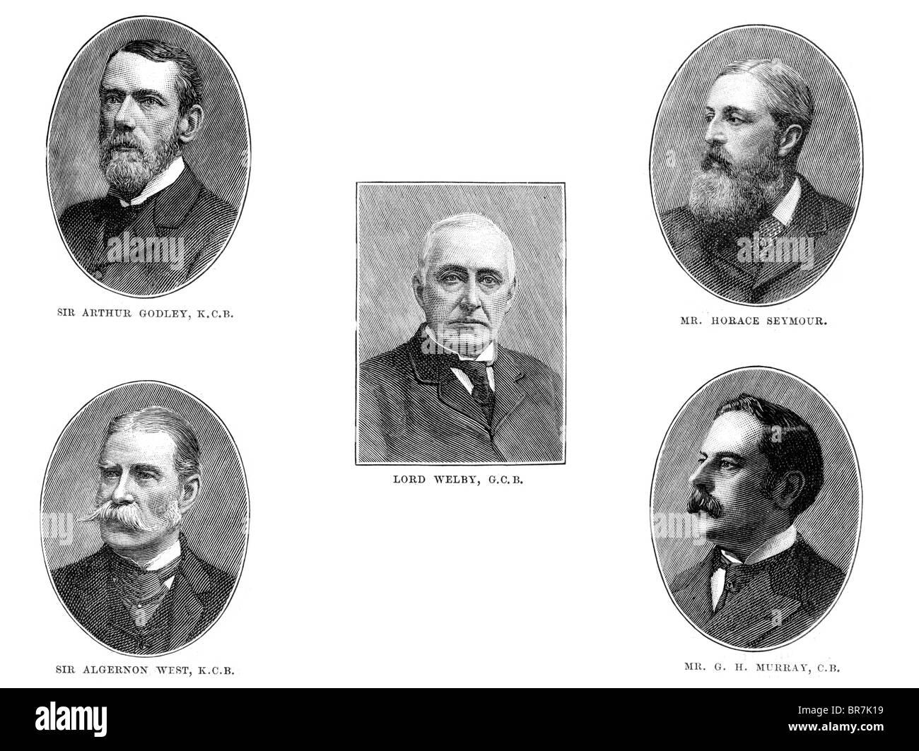 Private Secretary to Gladstone, Algernon Edward West, Horace Seymour, Reginald Welby, Arthur Godley, 1st Baron Kilbracken Stock Photo