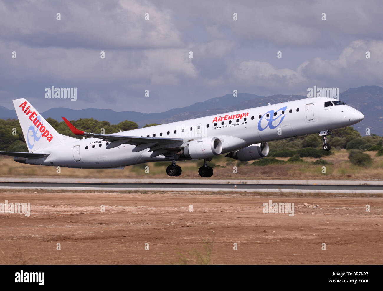 Air Europa Embraer 195 aircraft airline airliner taking off at Palma airport Mallorca Spain in 2010 - Stock Image