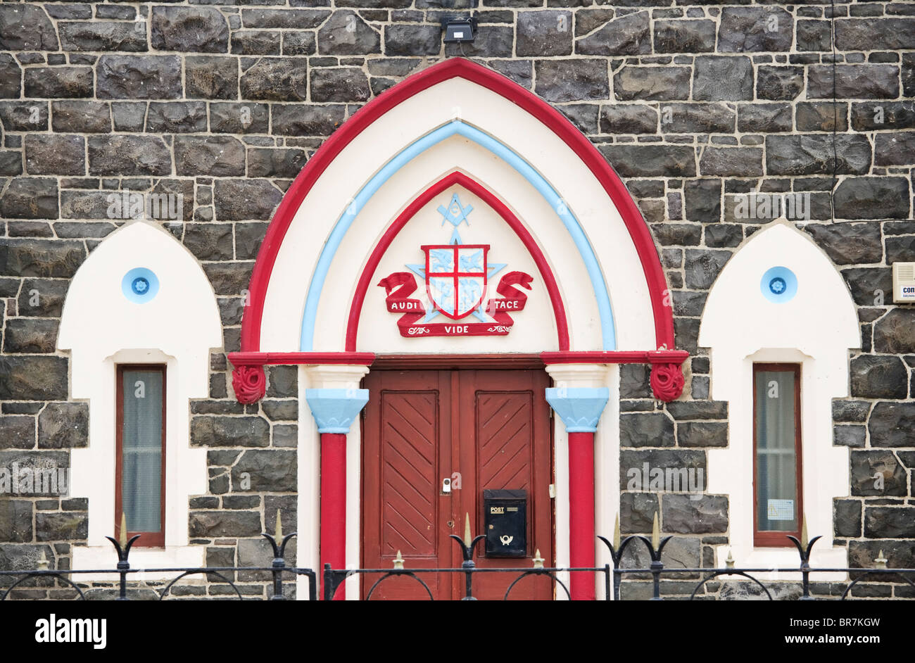The distinctive colours of an Antrim Freemasons' Lodge, County Antrim, Northern Ireland - Stock Image