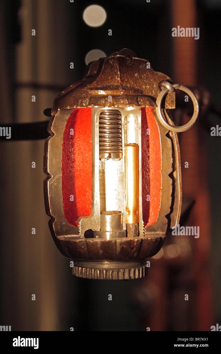 A sectioned 'Mills' bomb (hand grenade) on display at the Imperial War Museum, London, UK. - Stock Image
