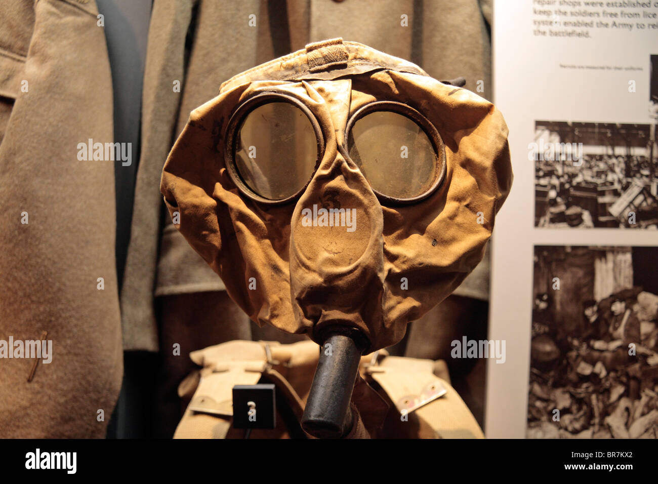 A British small box respirator on display at the Imperial War Museum, London, UK. - Stock Image