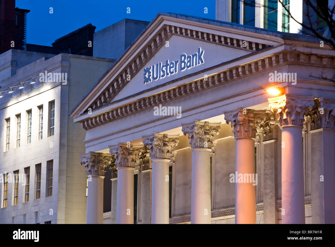 The classically styled headquarters of the Ulster Bank on Donegall Square, Belfast, Northern Ireland - Stock Image