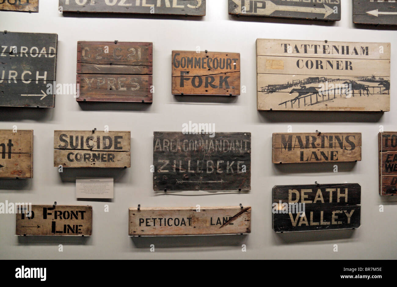 A collection of  World War One trench name & direction signs on display at the Imperial War Museum, London, - Stock Image