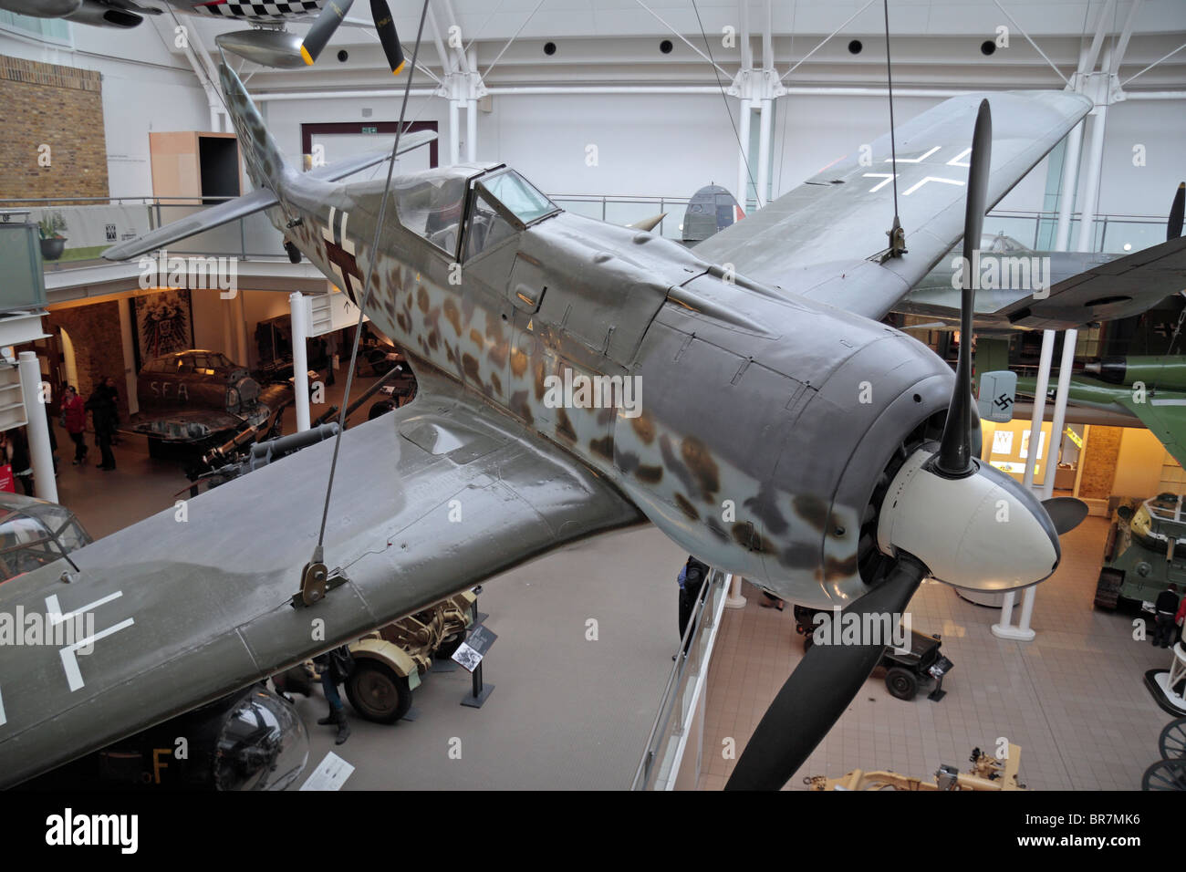 The cockpit of the German Focke-Wulf  fw190 hanging above the main hall in the Imperial War Museum, London, UK. - Stock Image