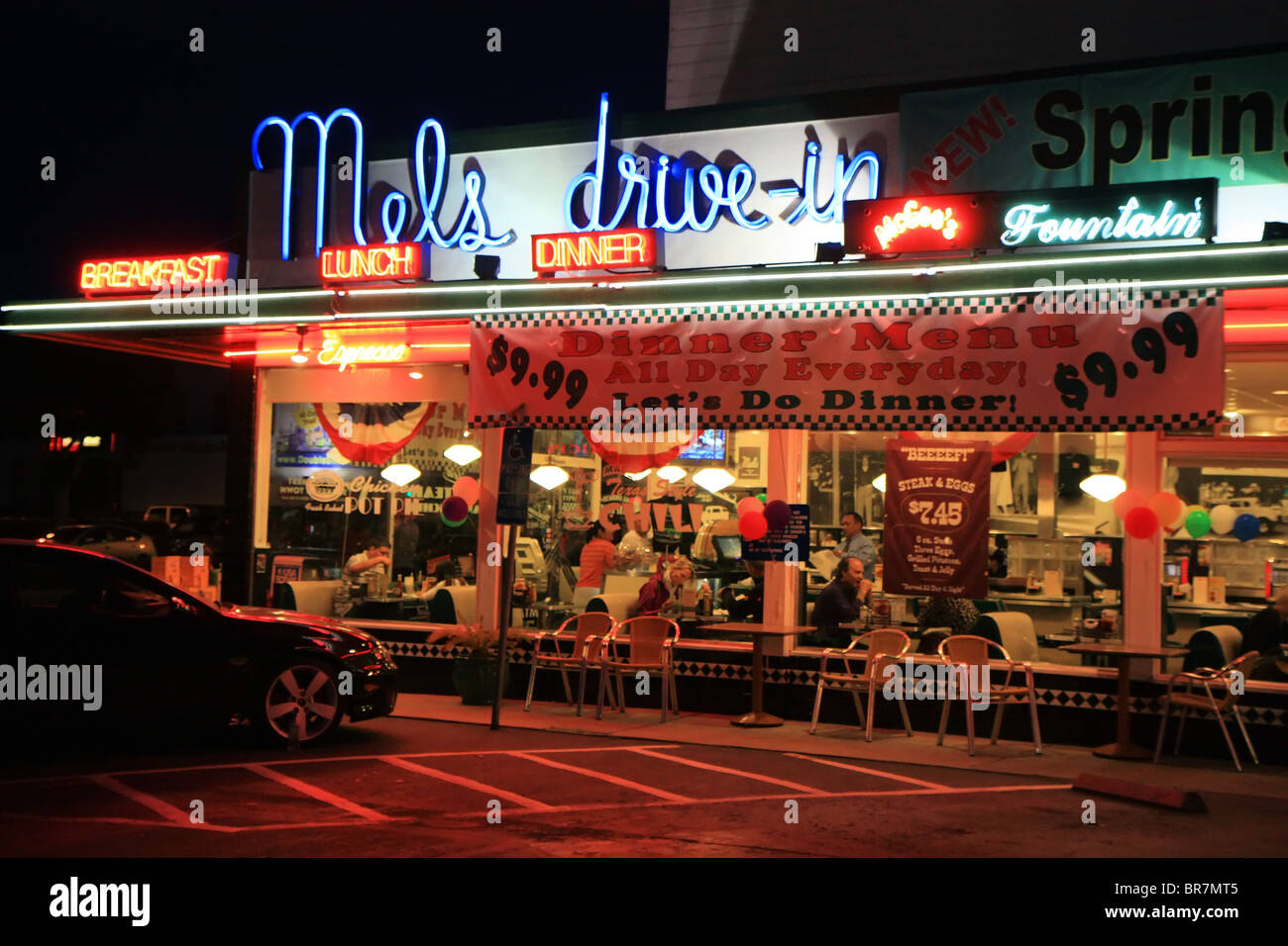 Mels Drive In Diner On Lombard Street At Night San Francisco United States Of America