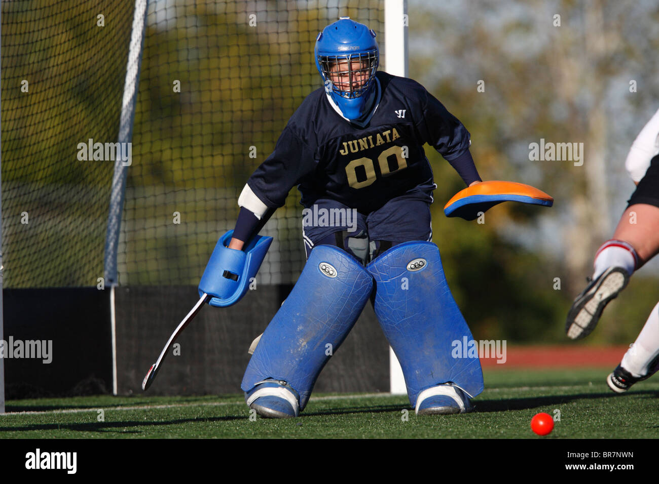 Juniata College goalkeeper in action against Catholic University during the Landmark Conference field hockey championship. - Stock Image