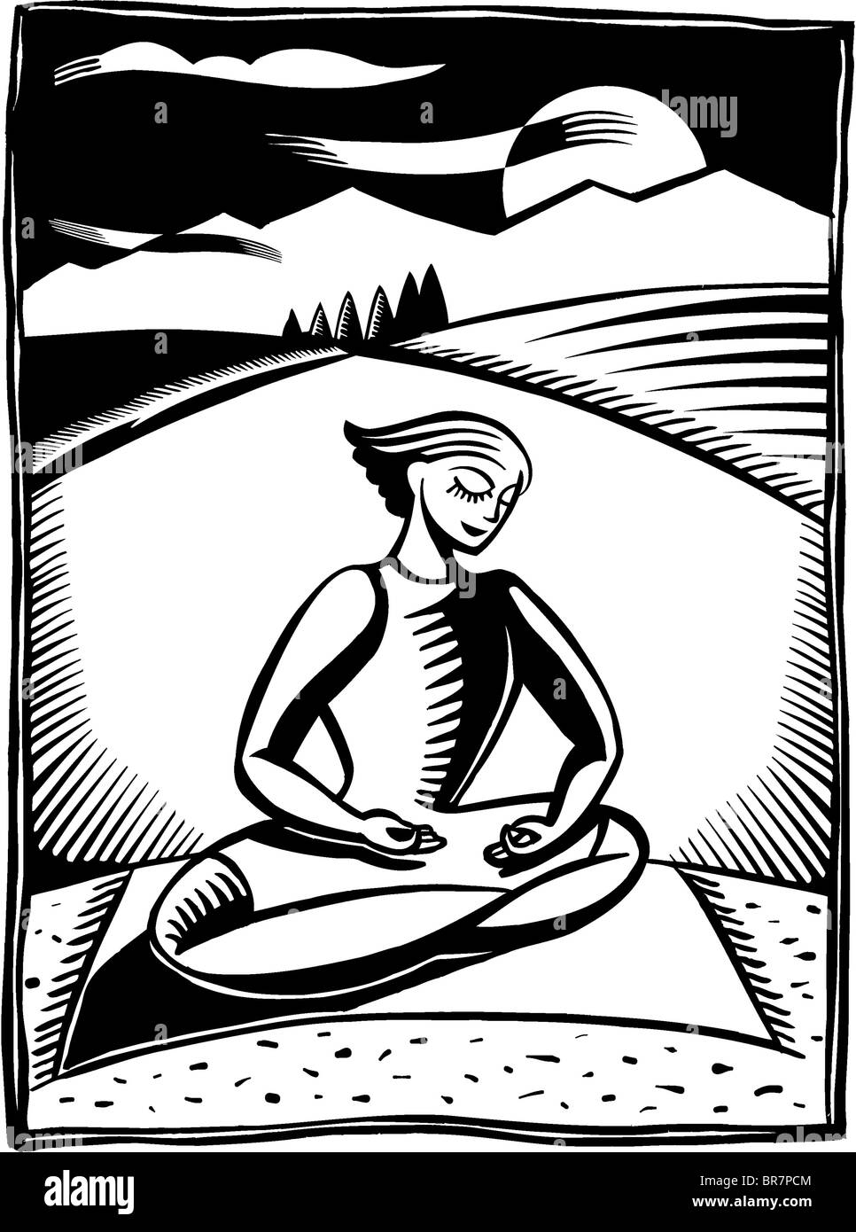 A black and white illustration of a woman meditating in lotus position - Stock Image