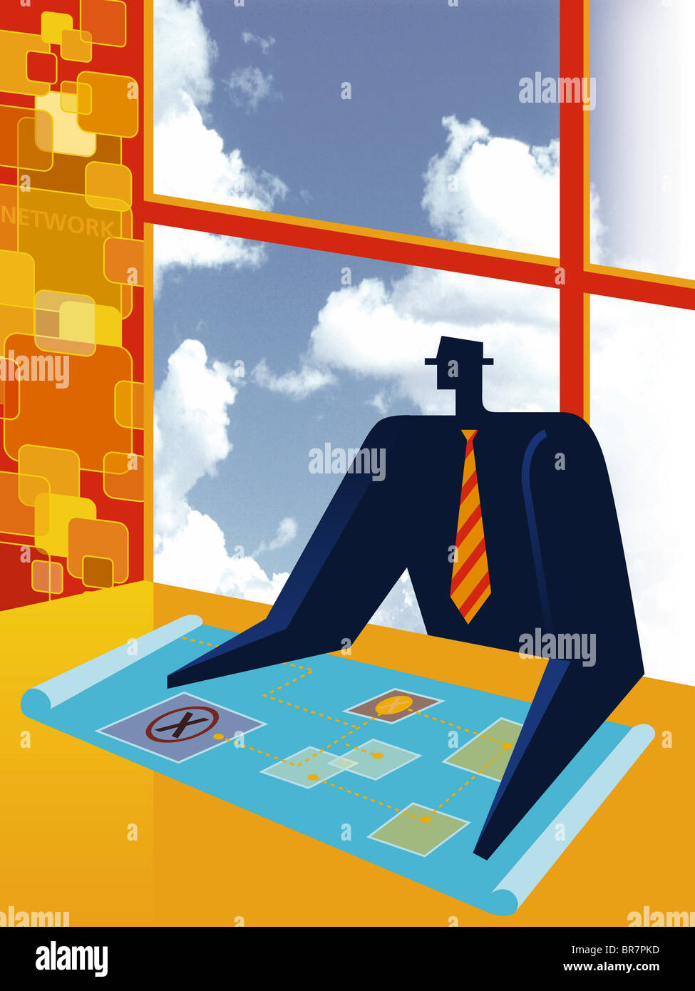 A businessman looking at blueprints - Stock Image
