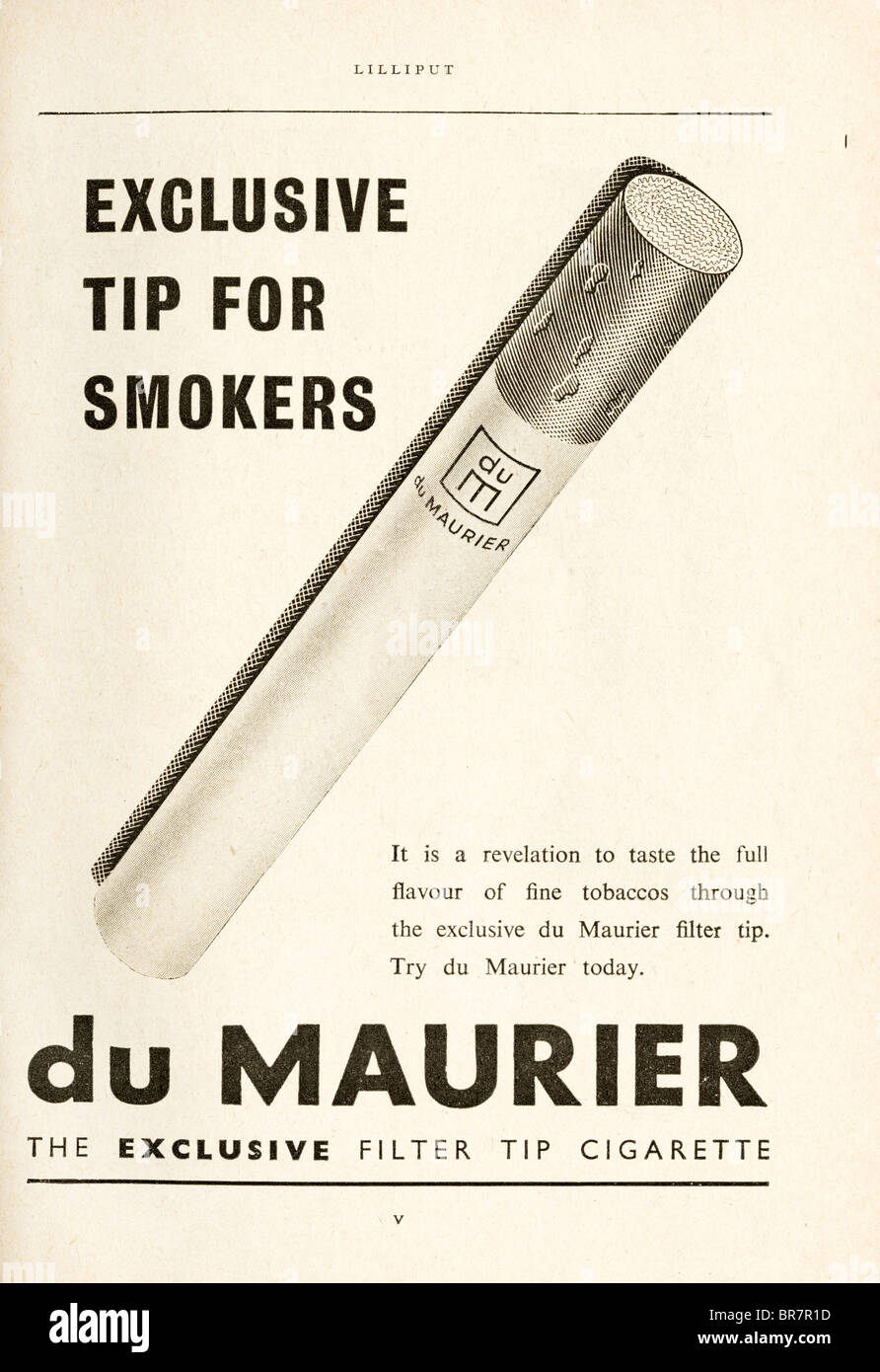Black and white advert for du Maurier filter tip cigarette inside Lilliput magazine dated November 1947 - Stock Image