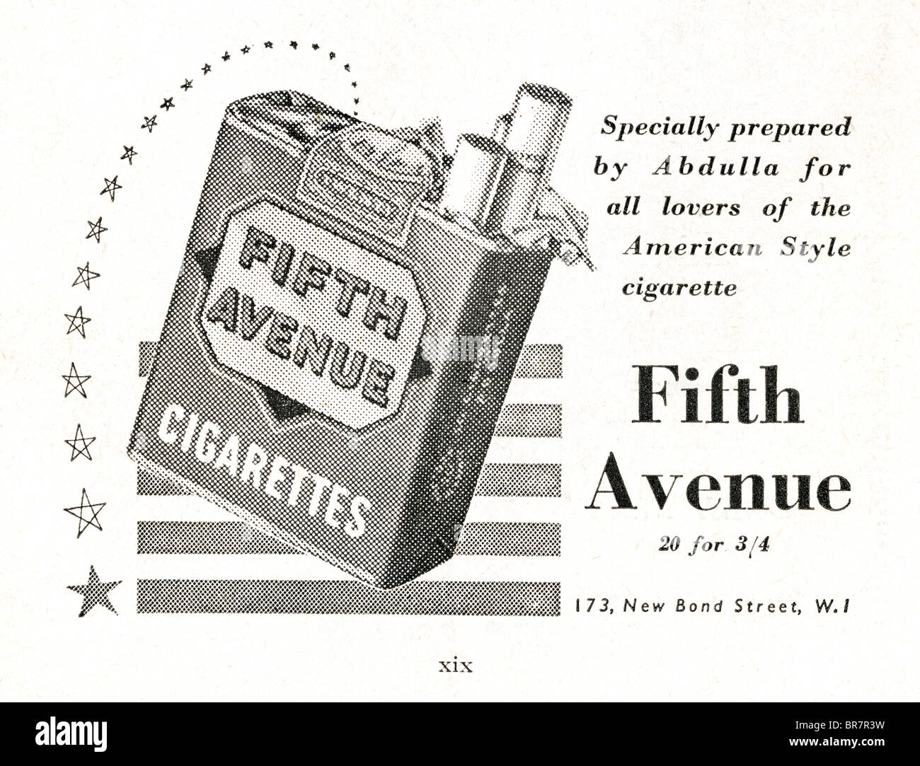 Black and white advert for Fifth Avenue cigarettes inside Lilliput magazine dated November 1947 - Stock Image
