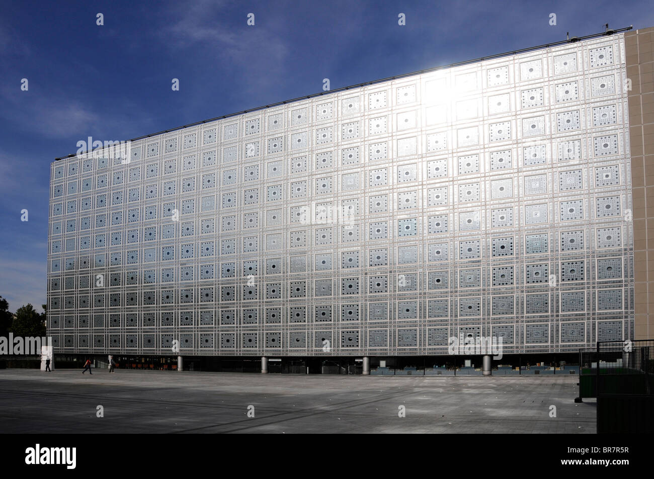 The facade of the building hosting the 'Institut du Monde Arabe' (IMA), the top Arab cultural centre in - Stock Image