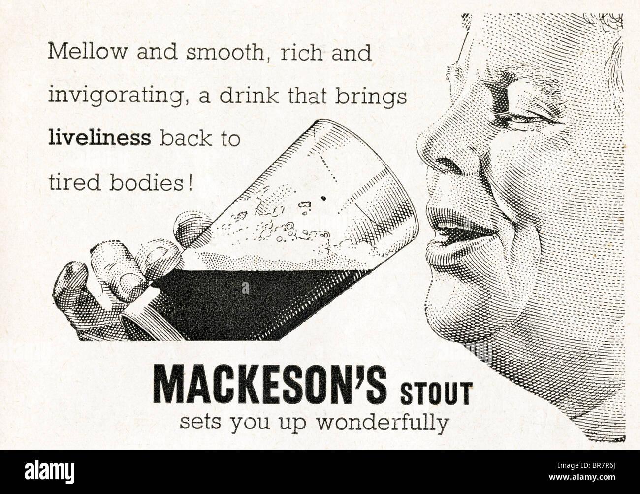 Black and white advert for Mackeson stout inside Lilliput magazine dated November 1947 - Stock Image