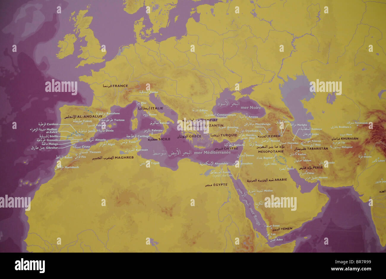 A Map Of The Mediterranean In French And Arabic On Display In The