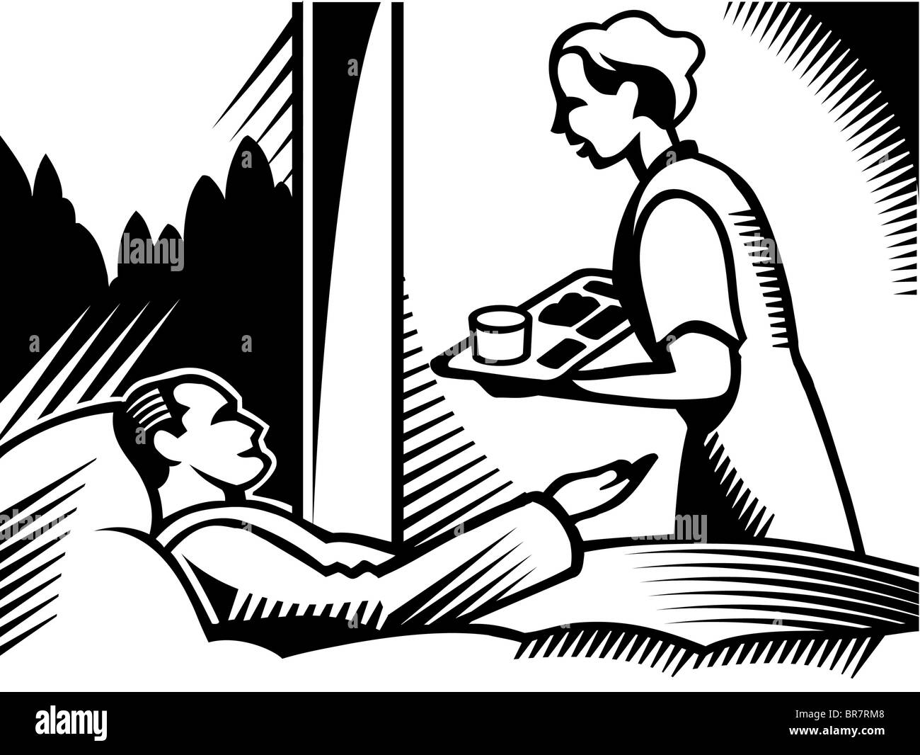 caring nurse black and white stock photos images alamy Nurse Call Bell Phone a drawing of a nurse bringing food to a patient in black and white stock
