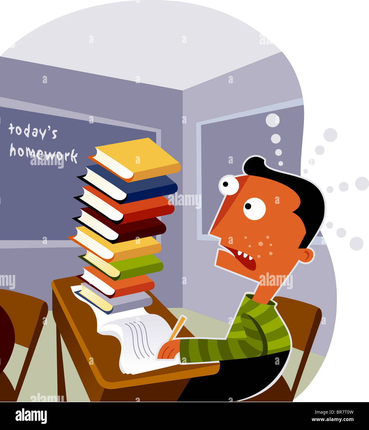 A boy looking at a big stack of homework on his desk Stock Photo