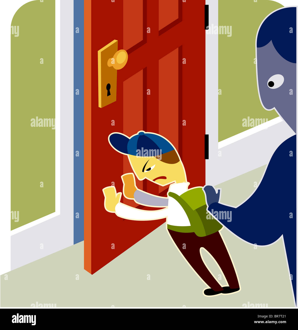 A boy pushing the door closed & A boy pushing the door closed Stock Photo: 31519993 - Alamy