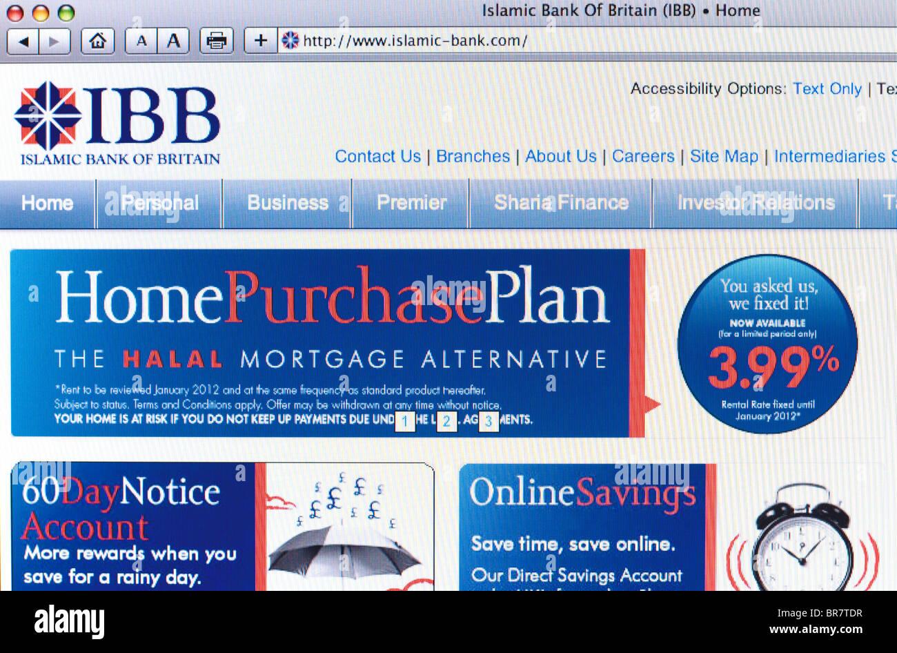Islamic Bank of Britain website screenshot - Stock Image