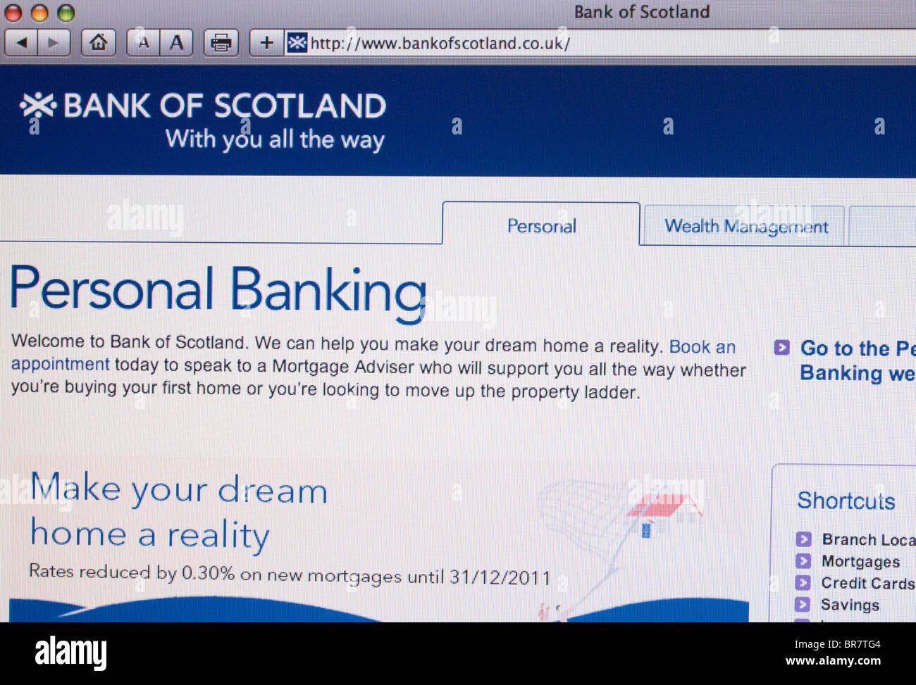 Bank of Scotland website screenshot - Stock Image