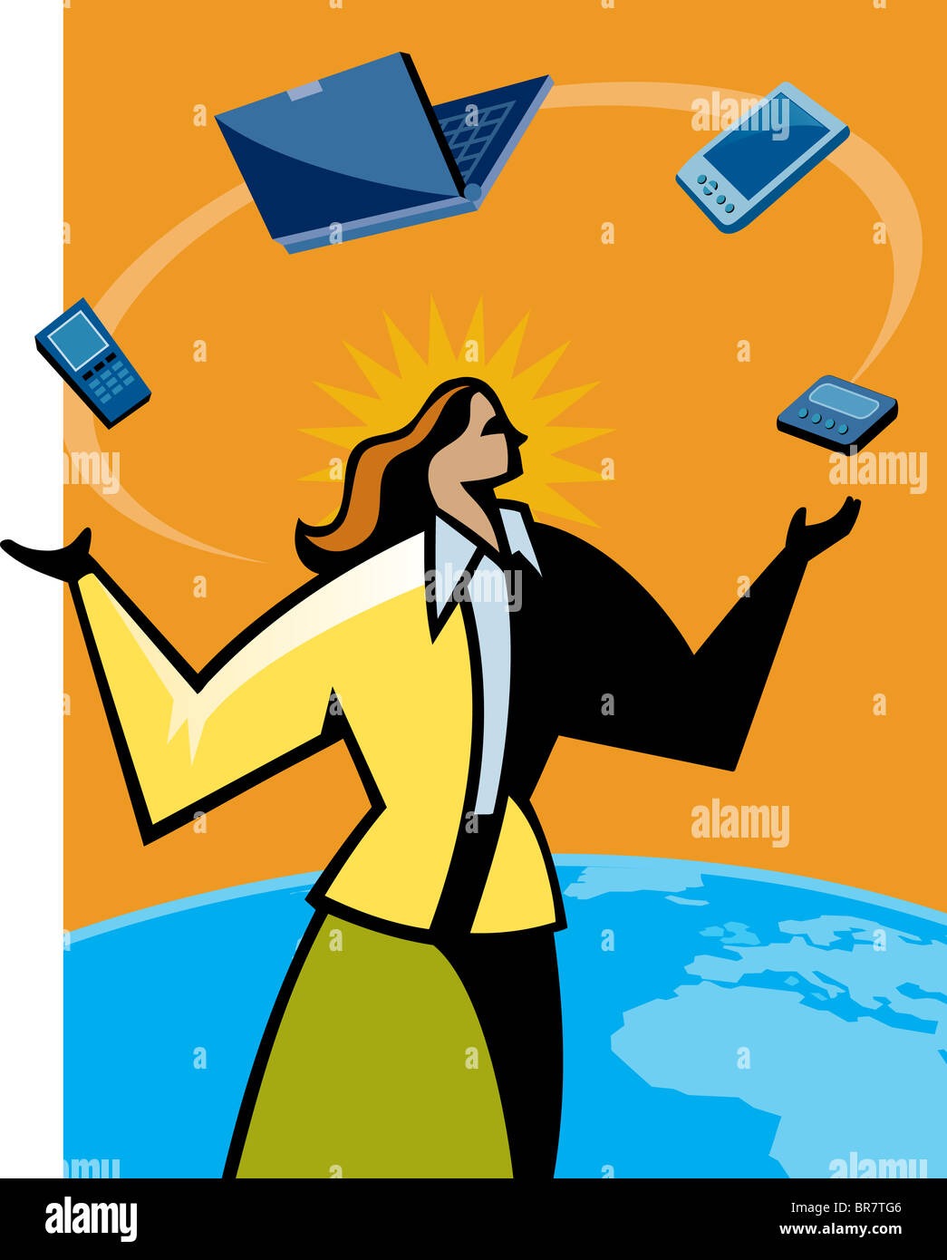 A woman juggling with different types of technology Stock Photo