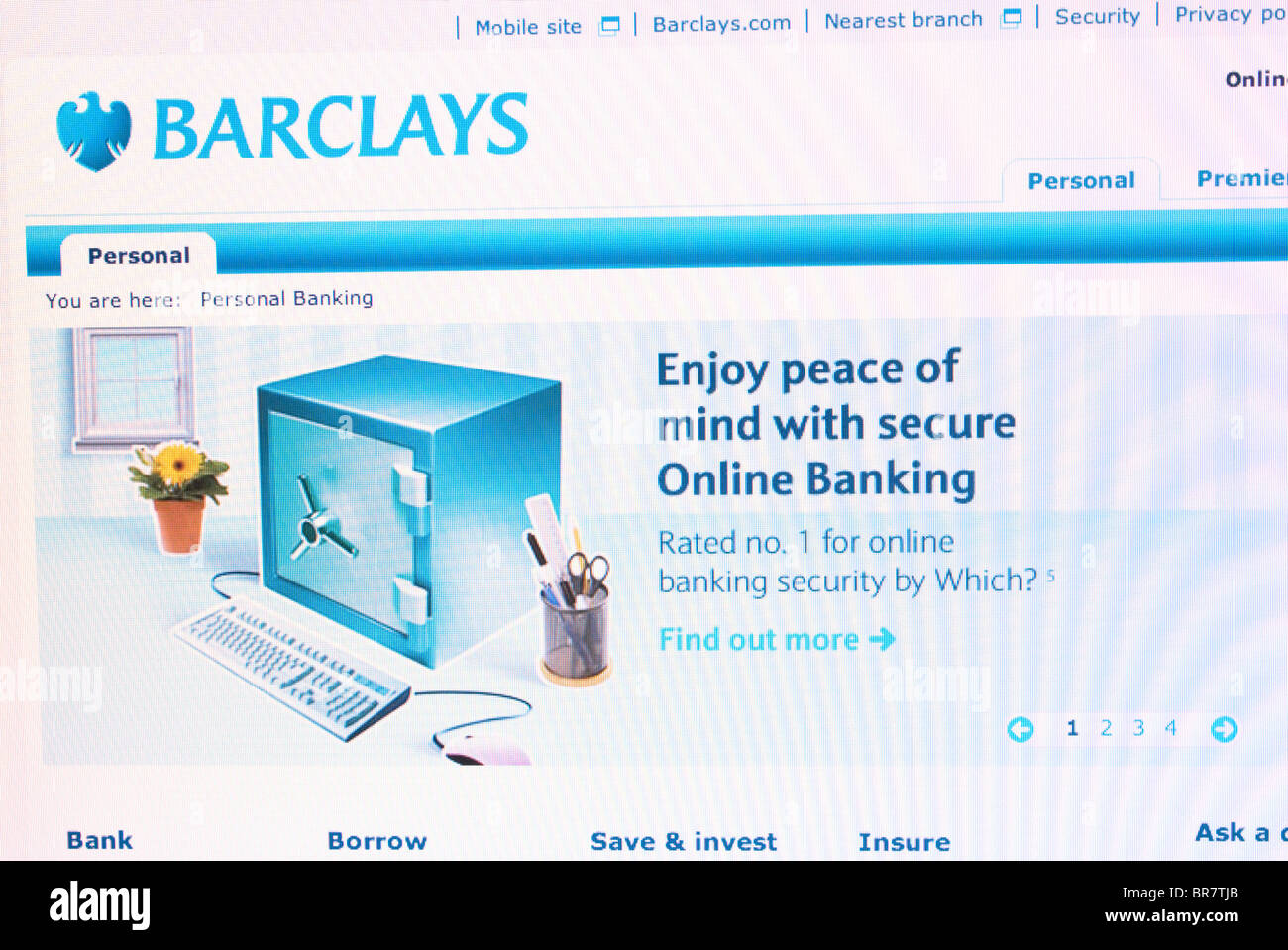 Barclays Bank website screenshot - Stock Image