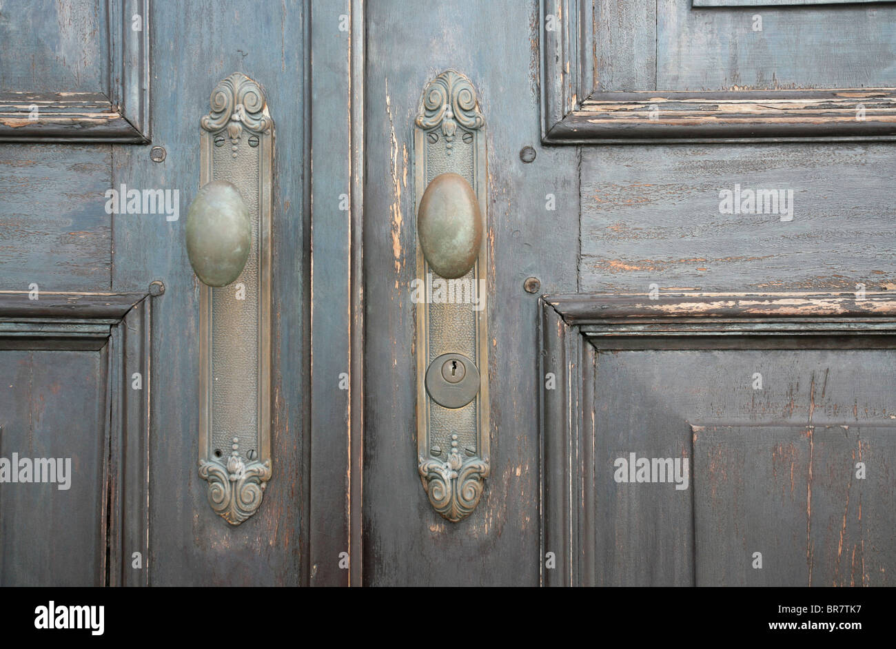 Old doors at the Casco Antiguo of Panama City. - Stock Image